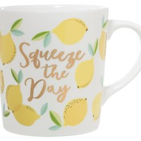 Squeeze The Day Lemon Ceramic Coffee Mug