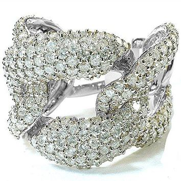 IGI CERTIFIED 3.40 Carat (ctw) 14K White Gold Round Diamond Ladies Cocktail Link Ring (Size 7)