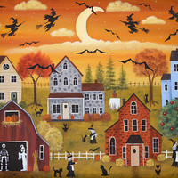 Spooky Village Halloween Folk Art  Hand Painted Tray - MADE TO ORDER - Witches, Bats, Ghost, Skeleton, Black Cats, Scarecrow, Pumpkins, Webs