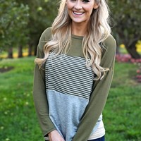Olive Striped Colorblock top