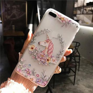 FFFAS Flamingo Unicorn Flower Full Cover Case for Apple Iphone 7 8 X Plus 3D Painting Cameo Fashion Dull Polish Cellphone Shell