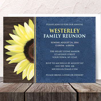 Rustic Sunflower Blue Family Reunion Invitations - Fabric Wood Yellow Floral - Printed Invitations
