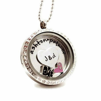 Large Crystal Living Locket / Name Plate / Couples Necklace /  Floating Birthstone Charm Locket