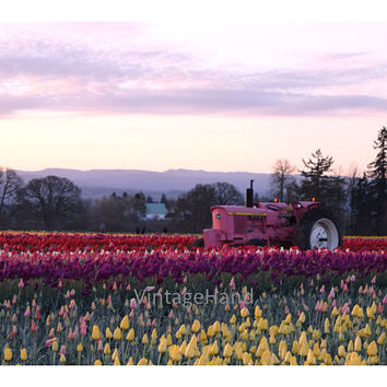 Pink Tractor Digital download / Sunrise / Yellow Purple Tulips / Easter / Spring / John Deere / Photograph / Art download / Home Decor