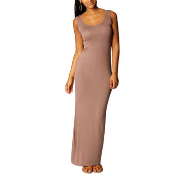 Women's Sexy Apricot Sleeveless Summer Scoop Neck Bodycon Party Long Maxi Dress