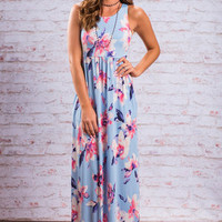 Fawn Over Flora Maxi Dress, Baby Blue