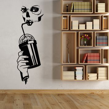 Vinyl Wall Decal Zombie Girl Brain Cocktail Skull Bone Calavera Stickers (2711ig)