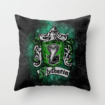 Harry potter Slytherin team flag Throw Pillow case by Three Second
