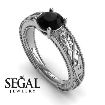Unique Engagement Ring 14K White Gold Vintage Art Deco Ring Antique Ring Edwardian Ring Black Diamond - London