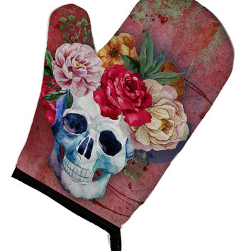 Day of the Dead Red Flowers Skull  Oven Mitt BB5130OVMT