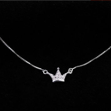 Jewelry Stylish Gift Shiny New Arrival 925 Silver Korean Simple Design Crown Accessory Pendant Necklace [8080528135]