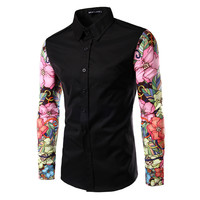 2016 Fashion Spring Long Sleeve Casual Men Shirt Floral Pink And Red Porcelain Print Patchwork Unique Design Men  Shirt PA17