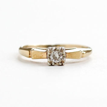 Vintage 14k Yellow & White Gold .08 Carat Diamond Solitaire Ring - Size 5 1/4 1940s 1950s Mid-Century Engagement Wedding Fine Jewelry
