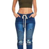Moto Denim Skinny Jogger Shirring Bottom