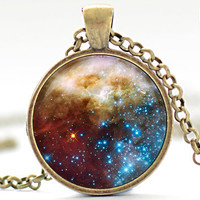 Nebula Necklace, Space Galaxy Art Pendant,  Nebula Jewelry, Universe Stars Gift for Him or for Her (311)