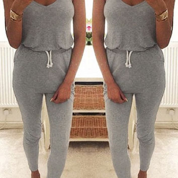 Gray Sleeveless Drawstring Waist Jumpsuit