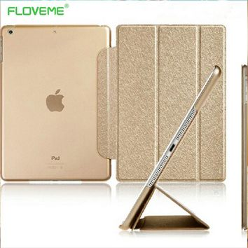 FLOVEME  For iPad Mini 1 2 3 Three Fold Luxury Silk Awake Sleep Clear Leather Flip Cover Ultra Thin Stand Scrub TPU Glitter Case
