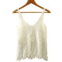 White Floral Lace Crochet Spaghetti Strap Tasseled Crop Top