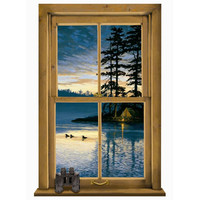 York Wallcoverings WG0445MLM Lake Forest Lodge Log Cabin Scenic Mural
