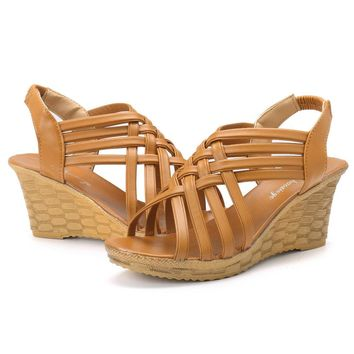 Hollow Out Peep Toe Wedge Sandals