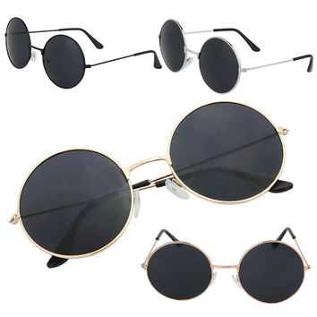 Retro Rund Glasses Steampunk Sunglasses Metal Frame Brand Designer Rimless