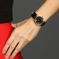 Sale-black Faux Leather Band Watch