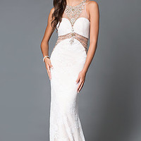 Long Ivory Beaded High Neck Sheer Waist Prom Dress -Dave and Johnny