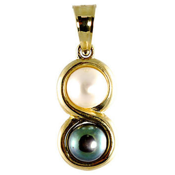 14K Gold Black & White Pearl Pendant