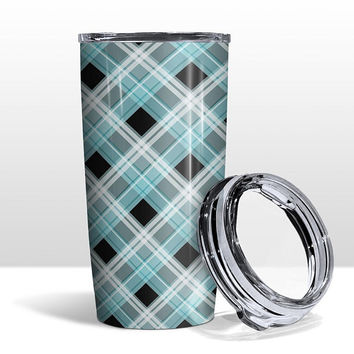 Alternative Turquoise Plaid Tumbler Cup - Turquoise White Black Plaid Pattern - 20oz Insulated with Clear Lid - Hot or Cold - Made to Order