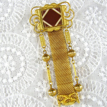 Vintage Dangle Brooch / Pin, Ornate Gold Tone, Mesh Bar Chain Beads, Red White Glass Mosaic, Designer SANDOR, 1950s Mad Men Jewelry