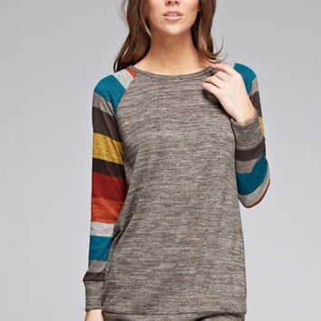 Striped Sleeve Knit Raglan  *MADE IN USA*