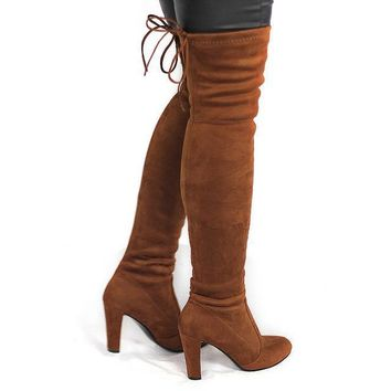 Stretchy Suede Over the Knee Boots