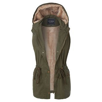 Faux Fur Anorak Military Hoodie Vest with Pockets
