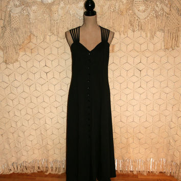 Black Sleeveless Maxi Dress Casual Long Black Dress Button Up Dress Black Summer Dress Spiegel Size 14 Size 16 Large XL 1X Womens Clothing