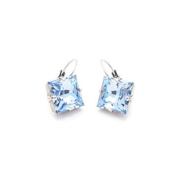 SWAROVSKI PRINCESS EARRINGS, light sapphire, 12mm, lever back, crystal drops, great gift, stunning