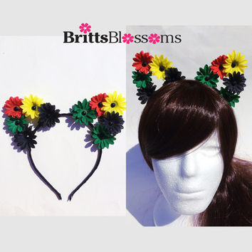 Rasta Daisy Cat Ears, Cat Ears, Flower Cat Eats, Flower headband, Flower halo, Flower crown