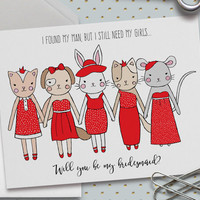 Will You Be My Bridesmaid? Card,  5.5 x 4.25 Inch (A2), Red Wedding, Wedding Cards,Bridal Party,Animal Illustrations,Cute Animals