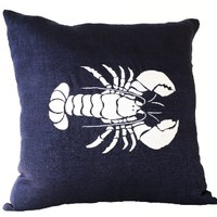 Navy Blue Linen Pillow Covers with White Silk Thread Lobster Embroidery - Handcrafted Throw Pillow Covers - Decorative Throw Pillow Covers with Sea Life Embroidery - Beach Decor Oceanic Pillows - Chair Pillow Covers - Navy Blue Pillowcases - Gift Pillow Co