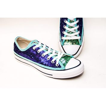 Two Tone Purple Over Mint Green Low Top Sneakers