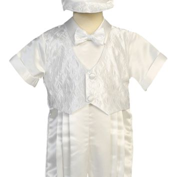 Romper w Embroidered Vest 2 Pc White Satin Christening Outfit (Baby Boys 3 - 24 months)