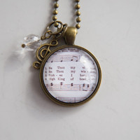 Be Thou My Vision Hymn Necklace - Music Necklace Inspirational Jewelry - Music Pendant - Church Inspirational Christian Jewelry Irish Hymn