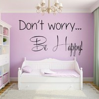 Wall Decals Vinyl Decal Sticker Home Interior Design Art Mural Life Quote Don't Worry Be Happy Wording Kids Nursery Baby Room Decor