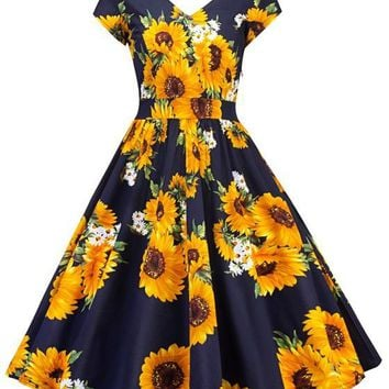 Blue Sunflower Print Draped V-neck Vintage Party Midi Dress
