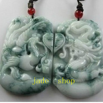Free Shipping-hand carved A cargo Jade Dragon and Phoenix couple pendants floating flower charm pendant