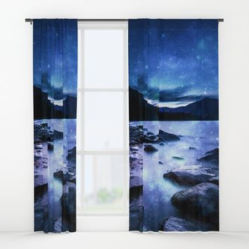Magical Mountain Lake Blue Window Curtains by 2sweet4words Designs