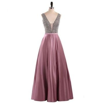 V-Neck Beads Bodice Open Back A Line Long Evening Dress Party Elegant Prom Gowns