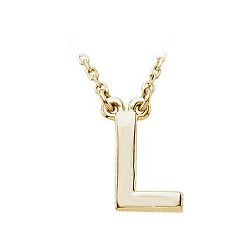 Block initial Necklace in 14k Yellow Gold, Letter L