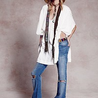 Free People Womens Destroyed 5 Pocket Flare