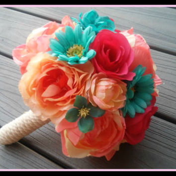 Coral, And, Teal, Flower, Bridal, Bouquet, Bridesmaid, rustic, wedding, pink, blue, aqua, new, england, martha's, vineyard, nantucket, style
