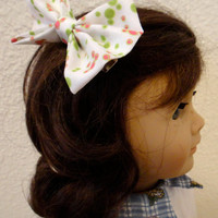 Girls Hair Bow Fabric Polka Dots American Girl Doll